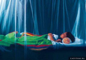 Больной малярией в постели